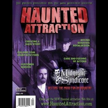 Edward Douglas and Gavin Goszka of Midnight Syndicate cover story in Haunted Attraction Magazine