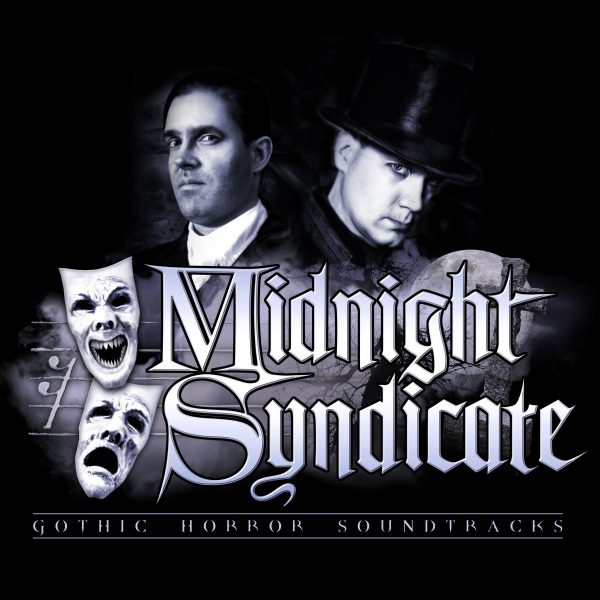 Haunting Instrumental Composers, Gavin Goszka and Edward Douglas of Midnight Syndicate with band logo