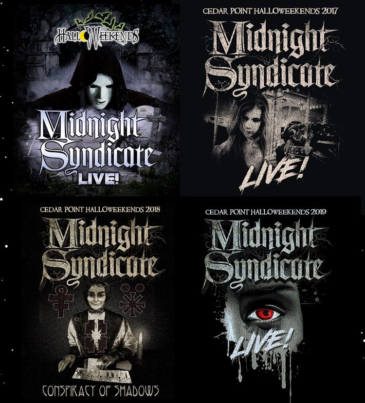 Midnight Syndicate Live logos from the first four shows