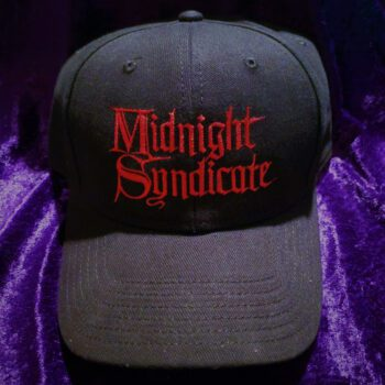 Black hat with Midnight Syndicate logo in red embroidery